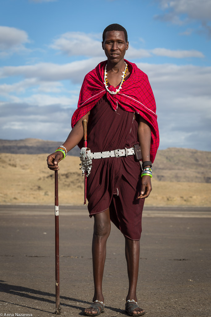 Masai man in Lake Natron
