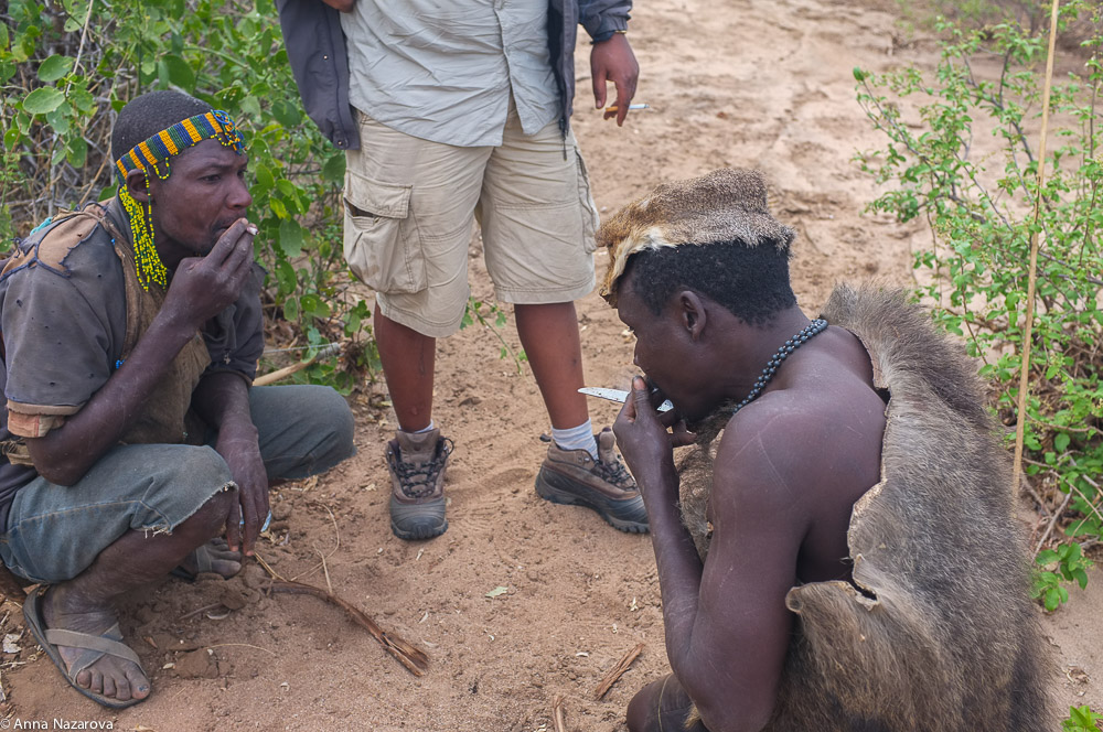 during hunting with Hadza people at lake Eyasi